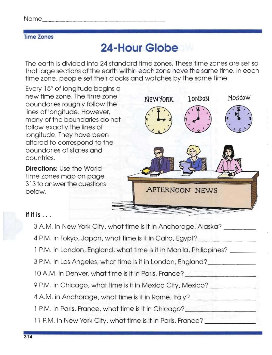 Global Geography Worksheets 6 Time Zones | Geography