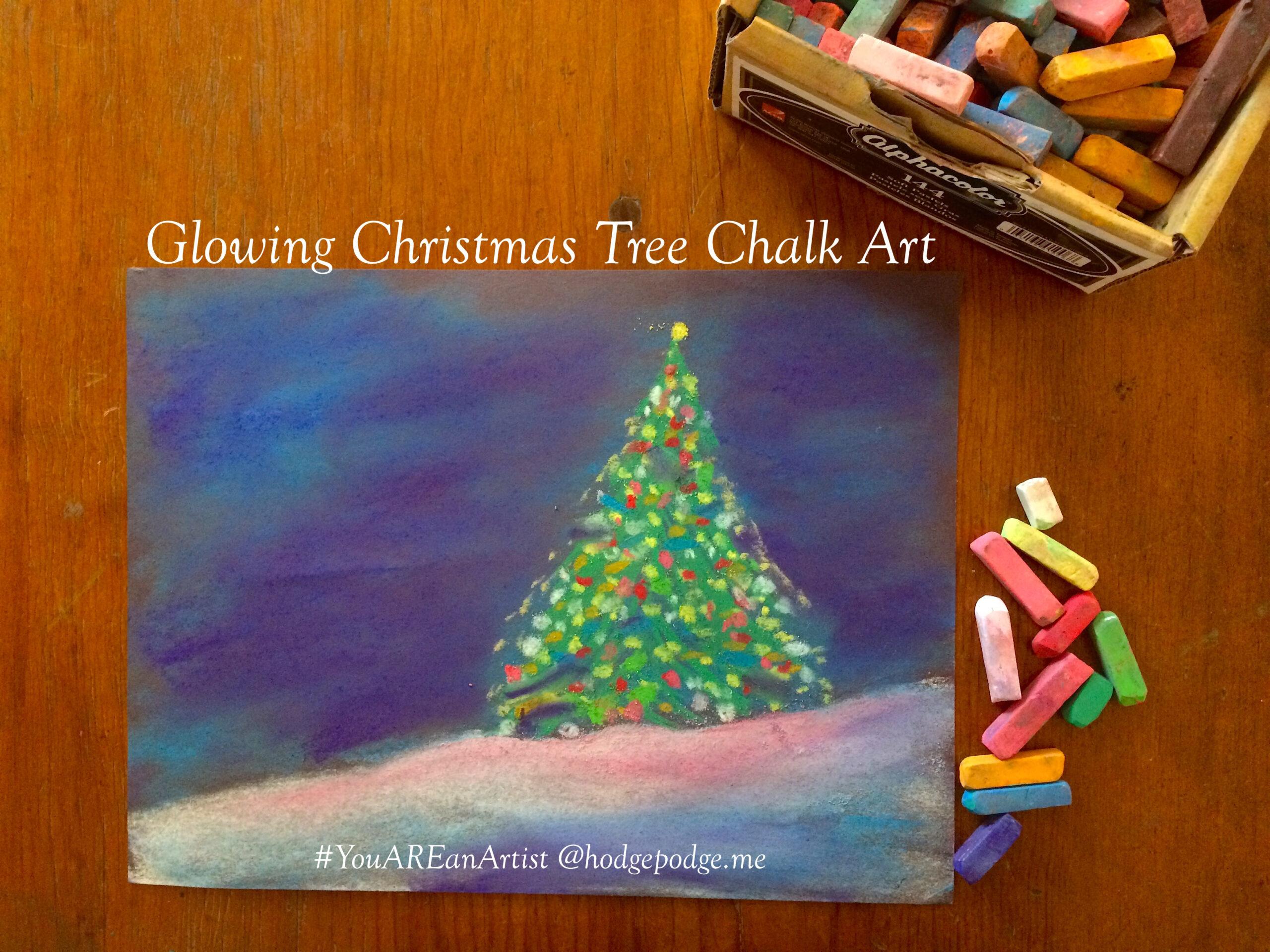 Glowing Christmas Tree Chalk Art Tutorial - Hodgepodge