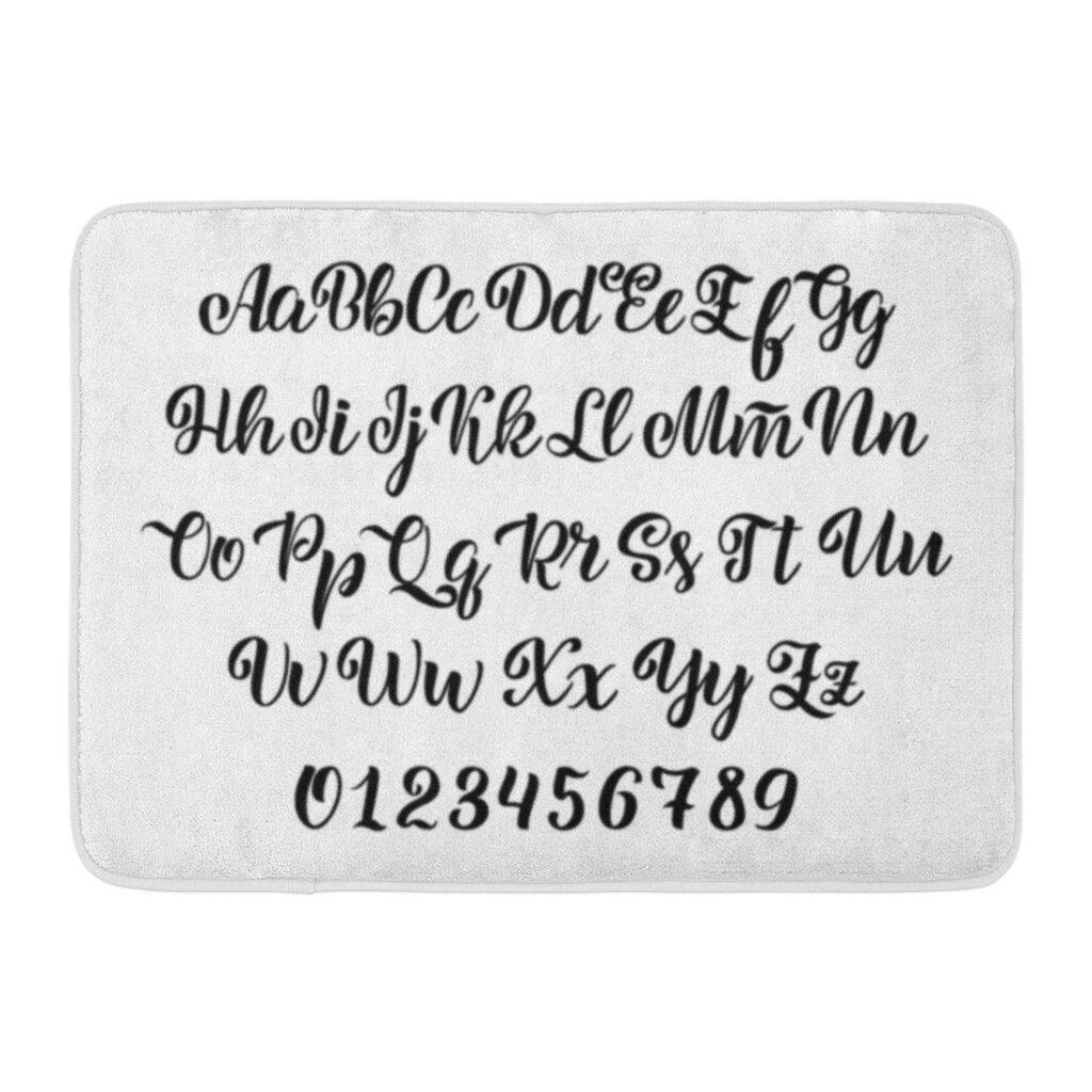 Godpok Abc Black Cursive Typeface Brush Letters Handwritten Script Alphabet  White For Your Designs Graphic Rug Doormat Bath Mat 23.6X15.7 Inch