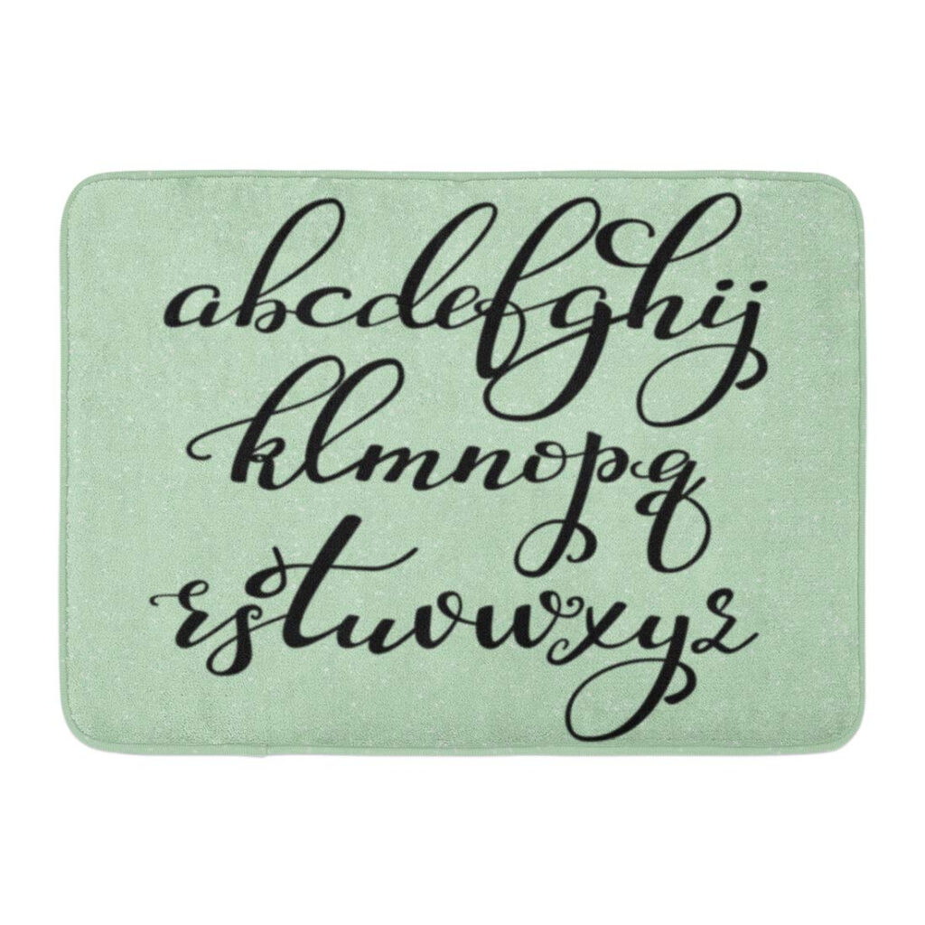 Godpok Script Handwritten Brush Style Modern Calligraphy Cursive Alphabet  Cute Letters Graphic Design Latin Rug Doormat Bath Mat 23.6X15.7 Inch