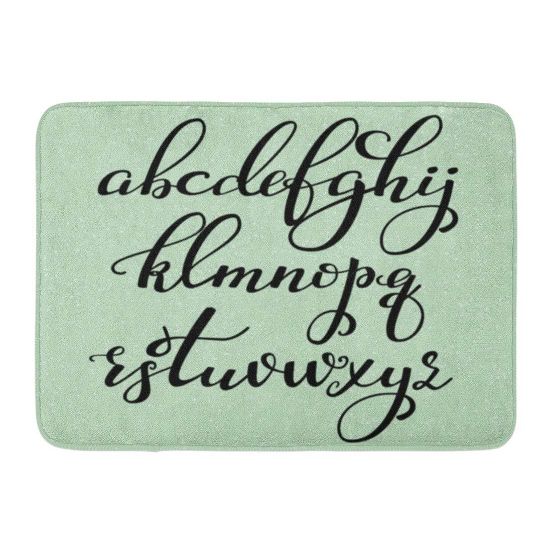 Godpok Script Handwritten Brush Style Modern Calligraphy Cursive Alphabet  Cute Letters Graphic Design Latin Rug Doormat Bath Mat 23.6X15.7 Inch -