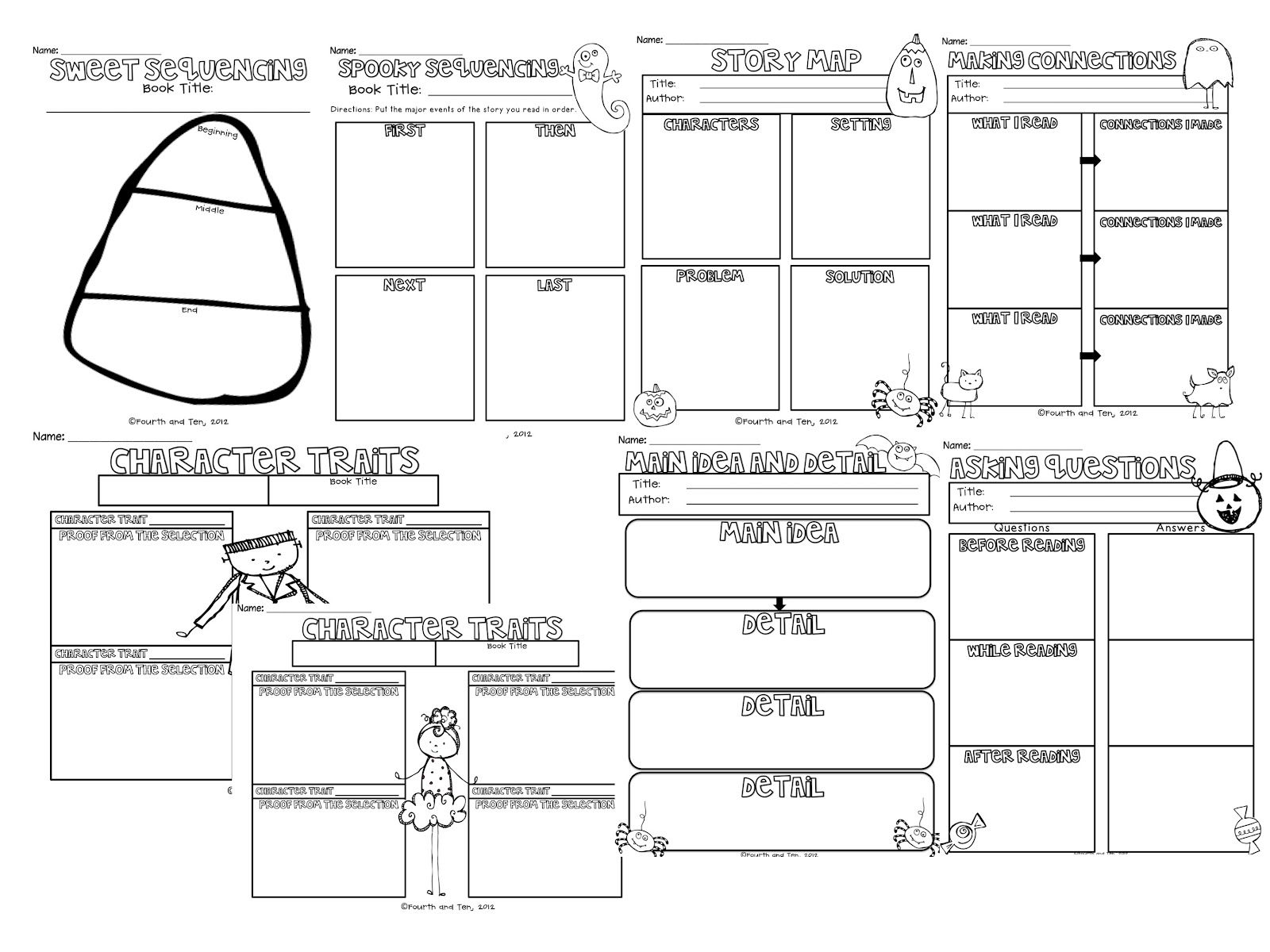 Graphic Organizers For Any Book--Halloween Themed   Reading