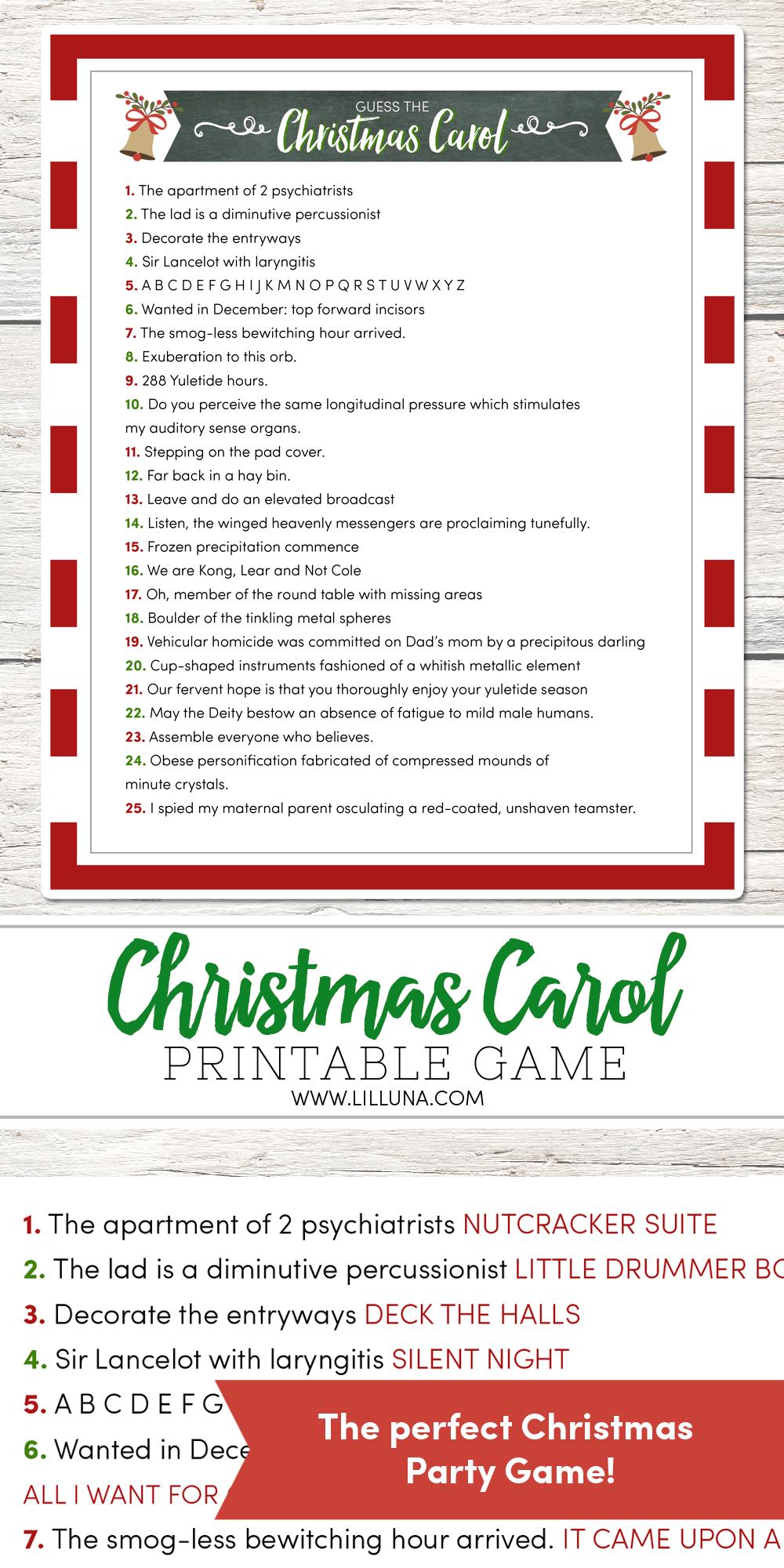 Guess The Christmas Carol Game - Lil' Luna