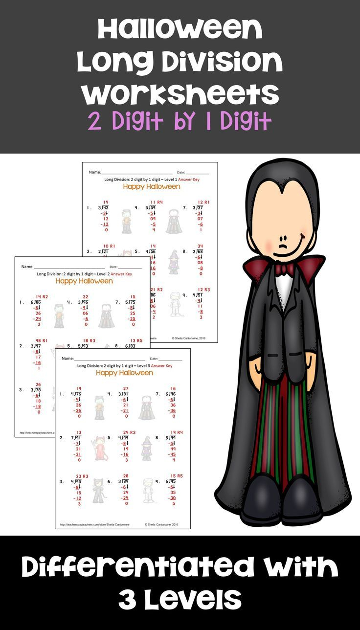 Halloween 2 Digit1 Digit Long Division With Printable