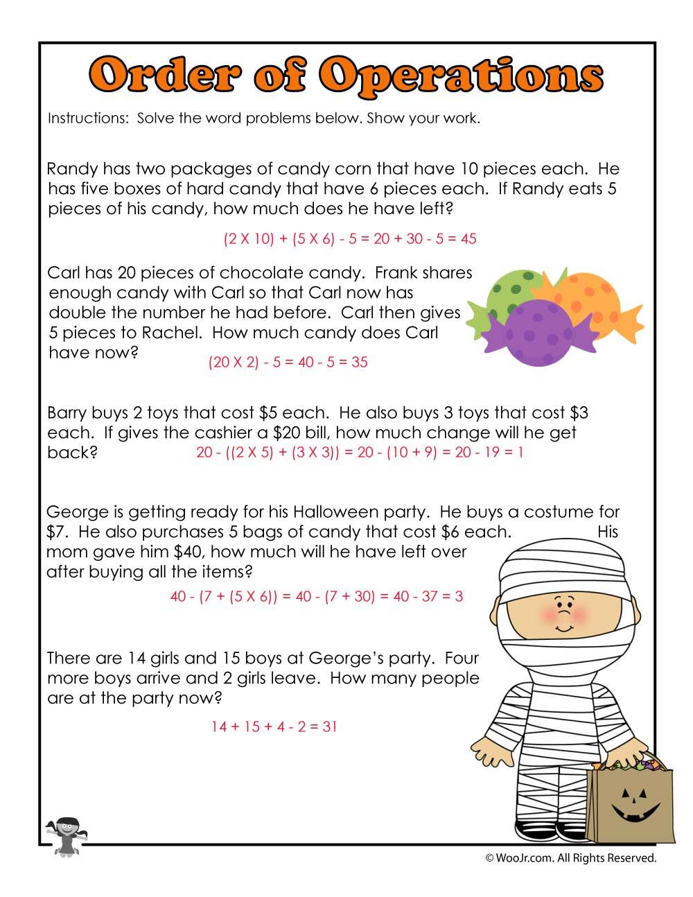 Halloween 3Rd Grade Worksheet Key Math Operations Answers