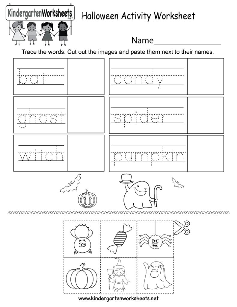 Halloween Activity Worksheet   Free Kindergarten Holiday