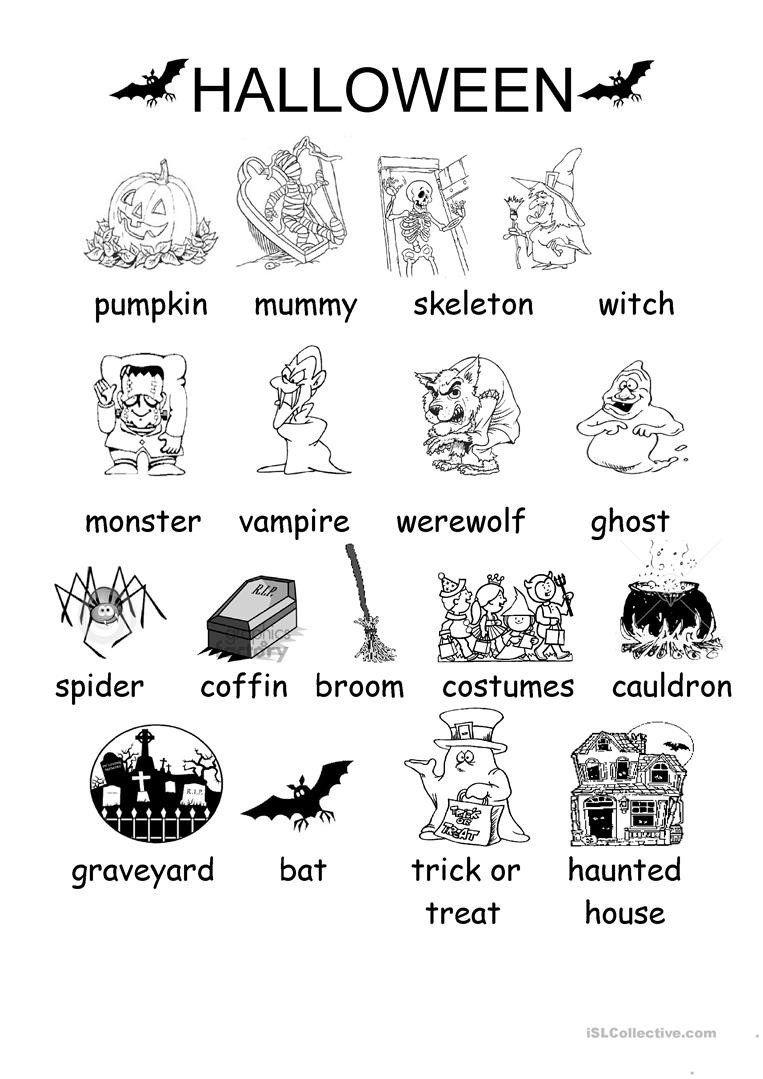 Halloween Activity Worksheets Kindergarten English Esl