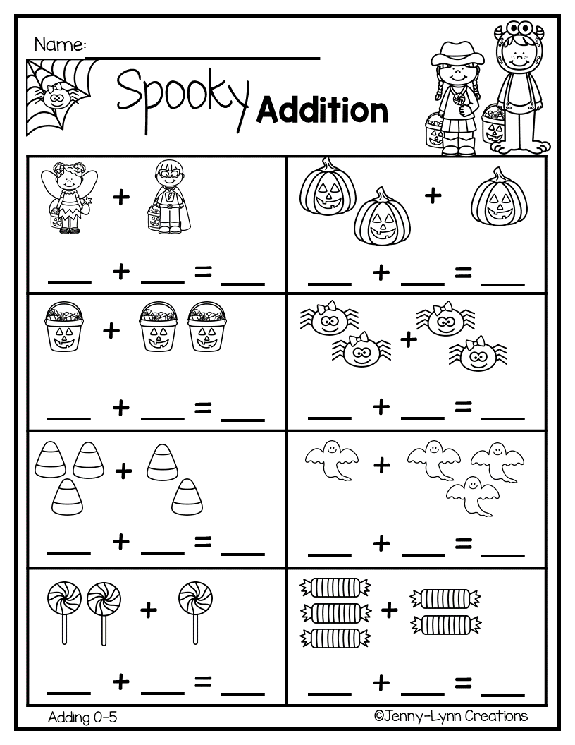 Halloween Addition | Preschool Math Worksheets, Kids Math