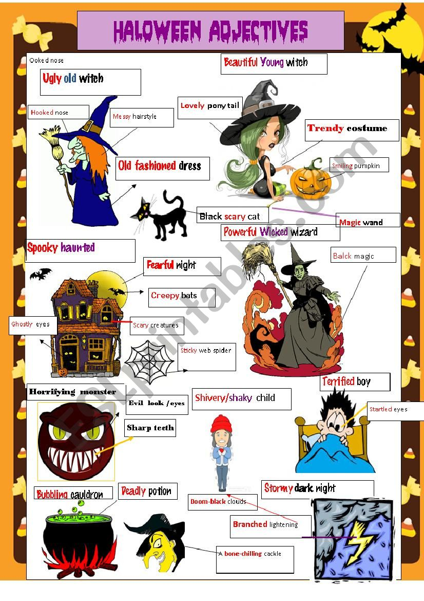Halloween Adjectives - Esl Worksheetstessenspaola