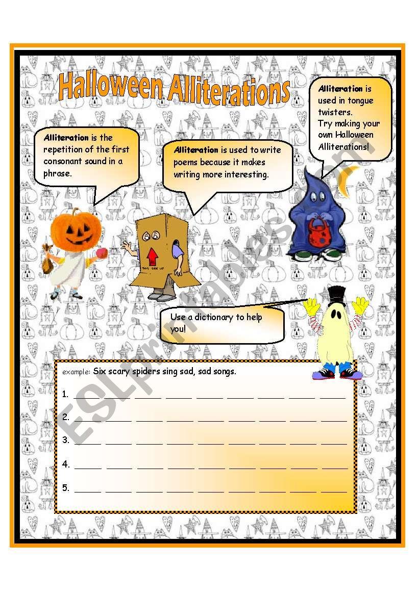 Halloween Alliterations - Esl Worksheetanna P