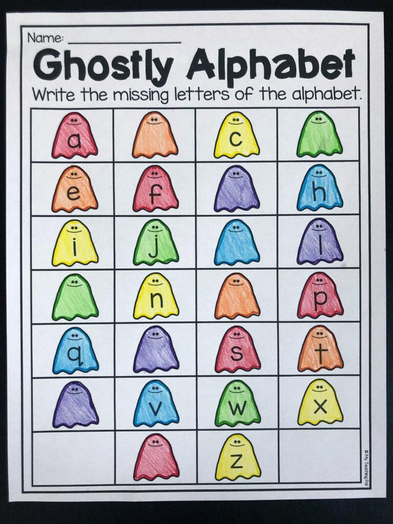 Halloween Alphabet Worksheet For Kindergarten. Students Fill
