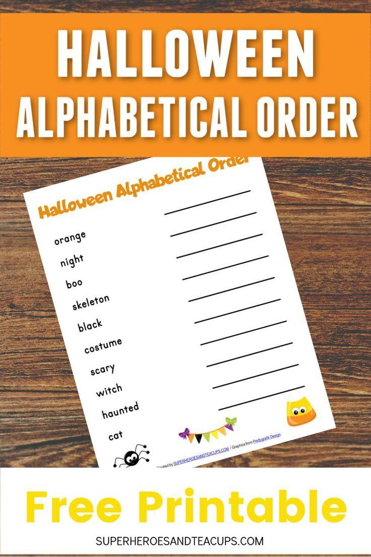 Halloween Alphabetical Order Free Printable | Fun Printables