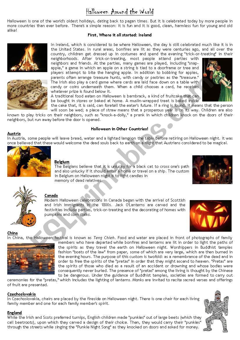 Halloween Around The World - Esl Worksheetromhy