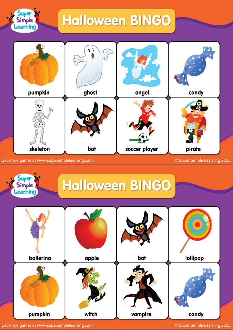 Halloween Bingo Cards - Super Simple