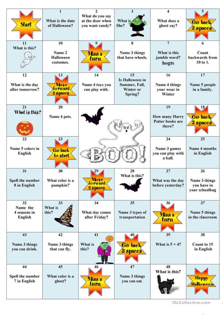 Halloween Board Game   English Esl Worksheets For Distance
