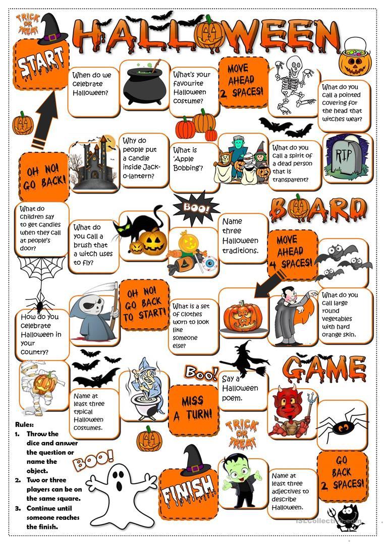 Halloween - Board Game - English Esl Worksheets For Distance