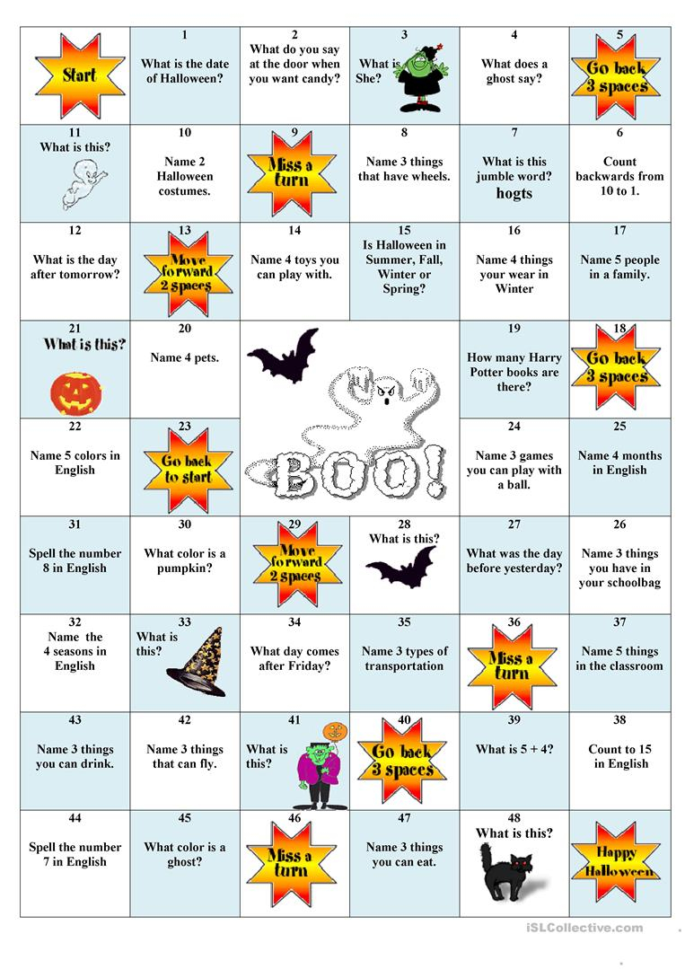 Halloween Board Game - English Esl Worksheets For Distance