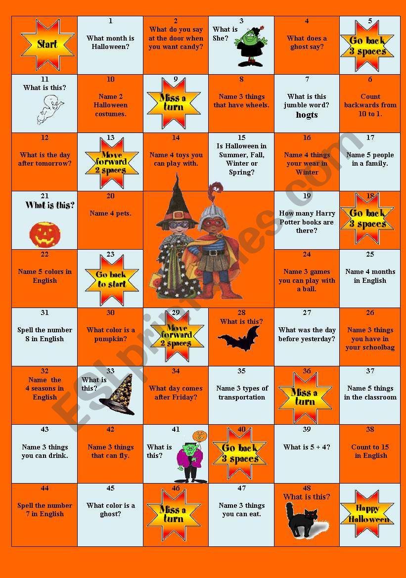 Halloween Board Game - Esl Worksheetlibertybelle