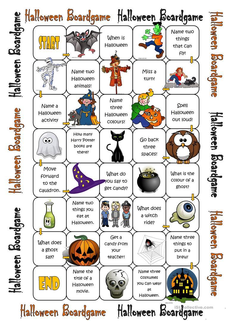 Halloween Boardgame - English Esl Worksheets For Distance