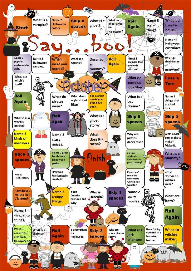 Halloween Boardgame   English Esl Worksheets For Distance