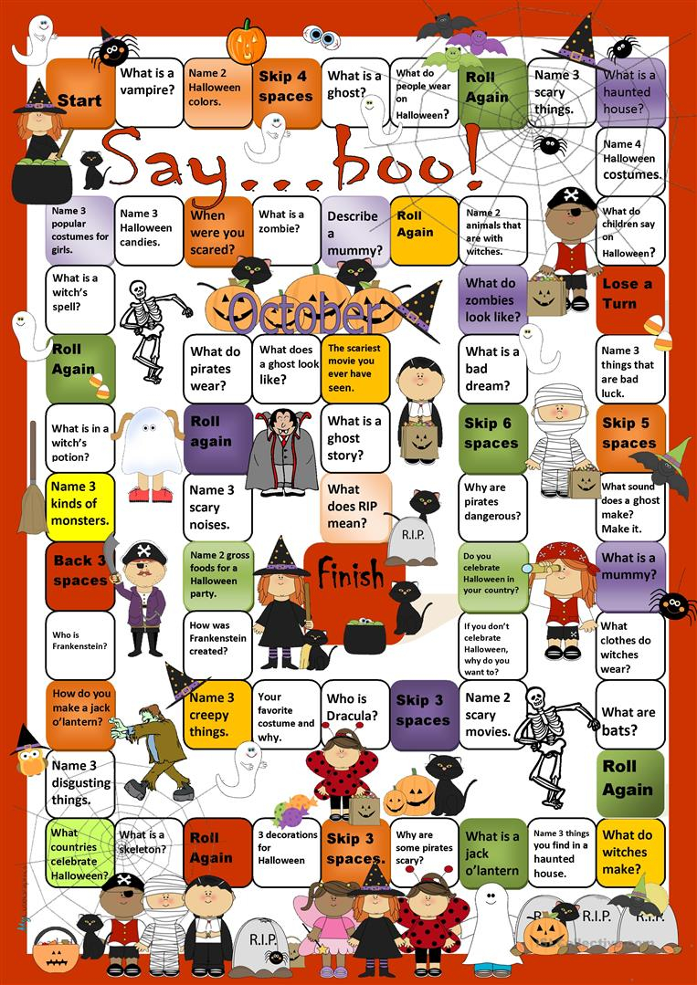 Halloween Boardgame - English Esl Worksheets For Distance
