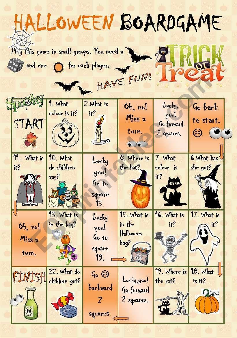 Halloween Boardgame - Esl Worksheetszilvi