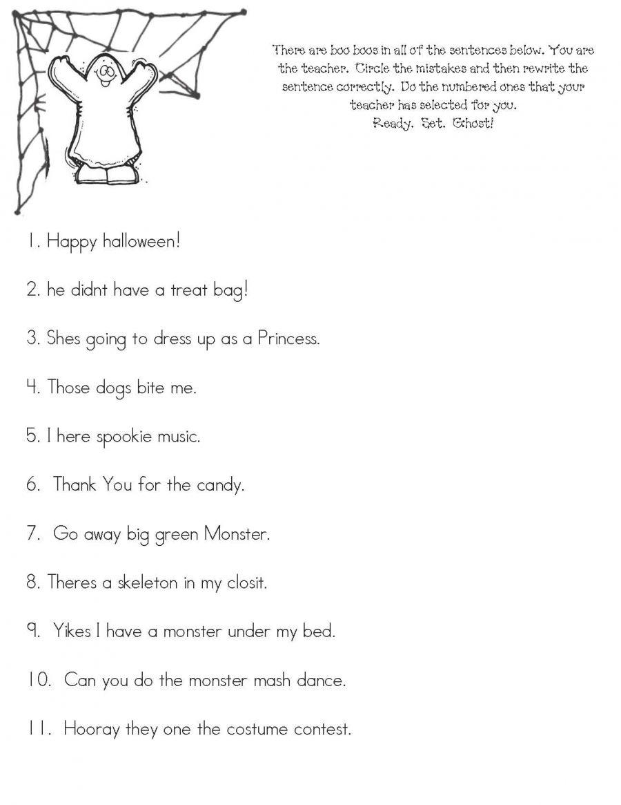Halloween Boo Boos | Halloween Worksheets, Punctuation