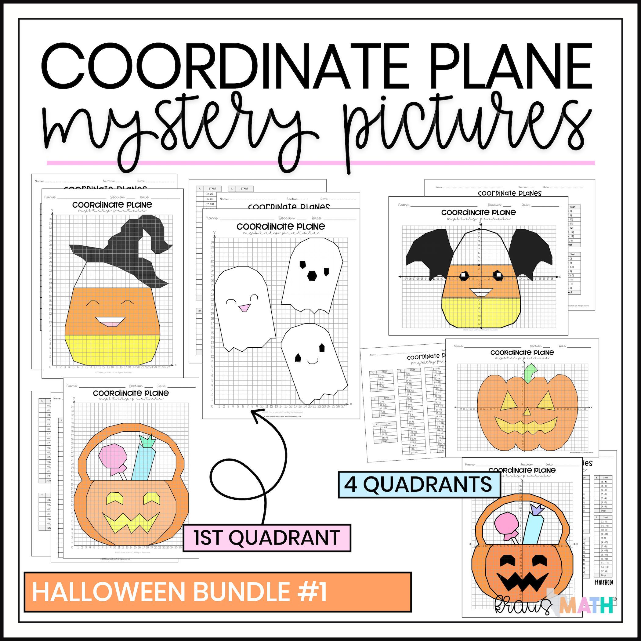 Halloween Bundle #1 | Coordinate Plane Activity