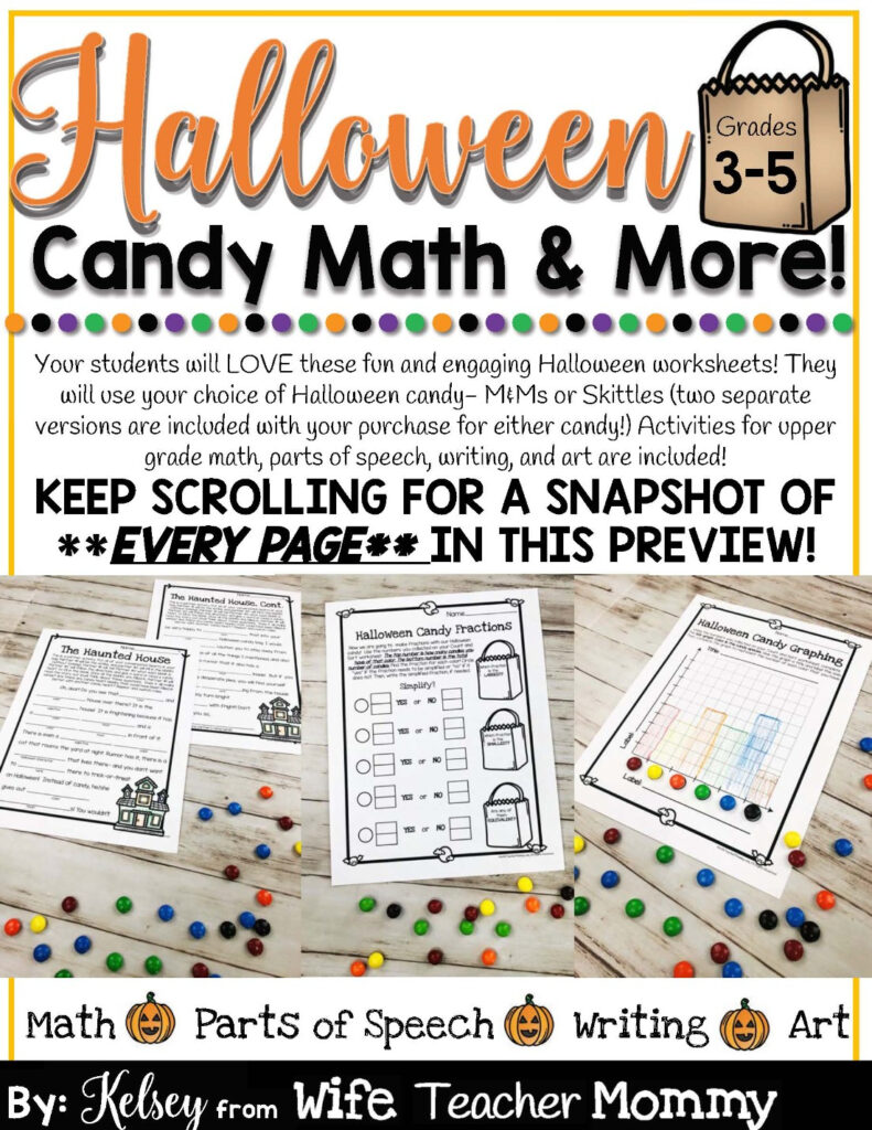 Halloween Candy Math Activities & More For 3Rd, 4Th, 5Th Grade   Wife  Teacher Mommy