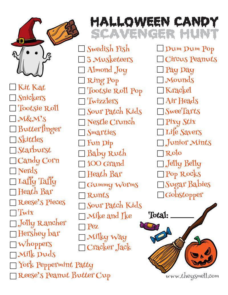 Halloween Candy Scavenger Hunt Printable   Scavenger Hunt