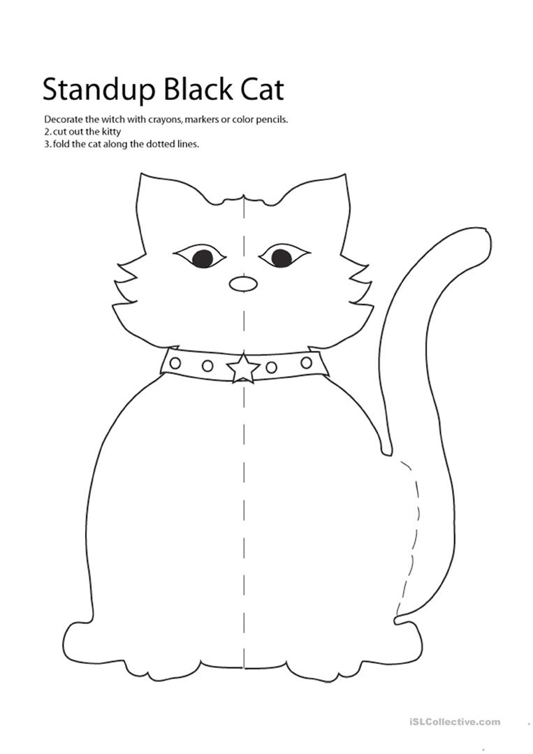 Halloween - Cat Craft - English Esl Worksheets For Distance