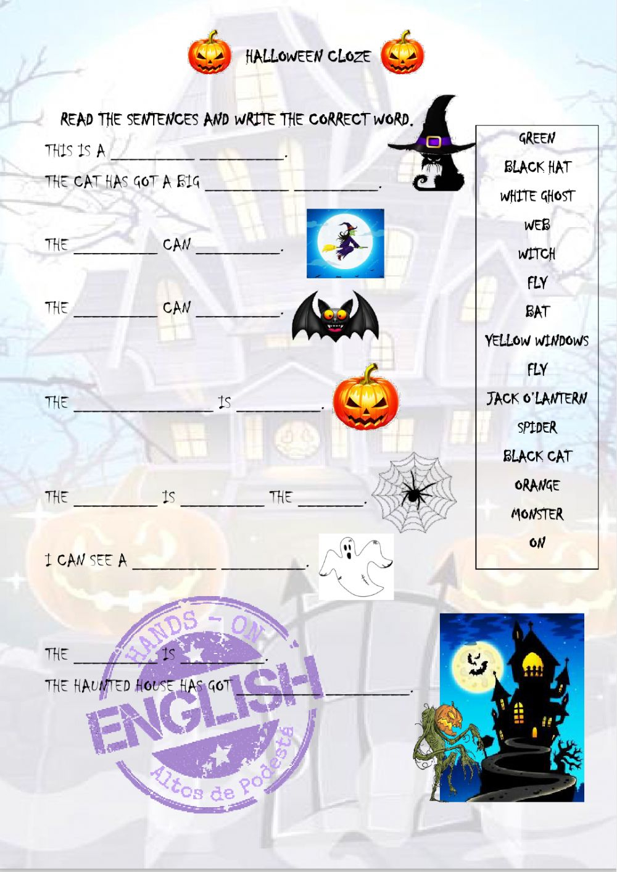 Halloween Cloze - Kids 1 Worksheet