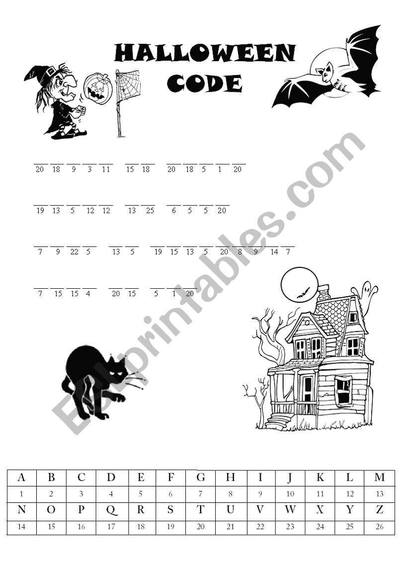 Halloween Code - Find The Saying - Esl Worksheetpaulinka.lip