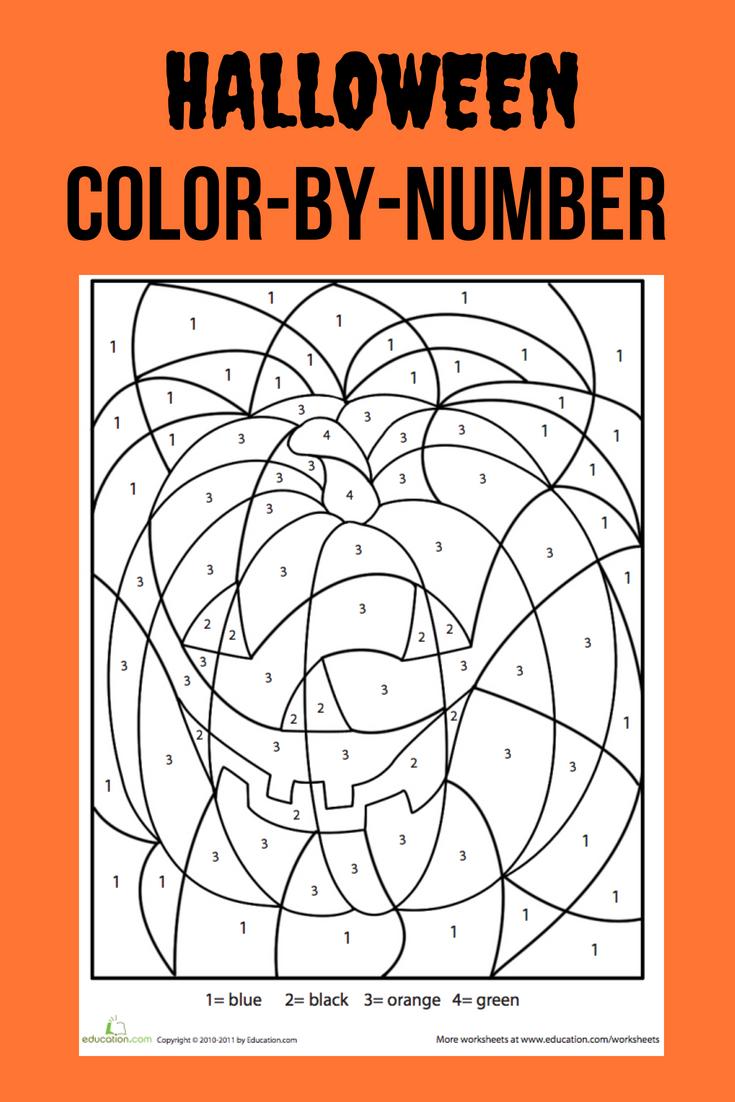 Halloween Color-By-Number   Worksheet   Education