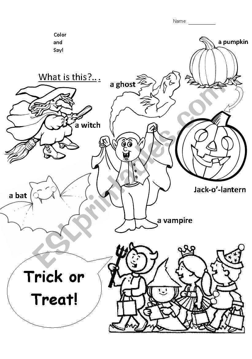 Halloween Coloring - Esl Worksheetfe_Perdida