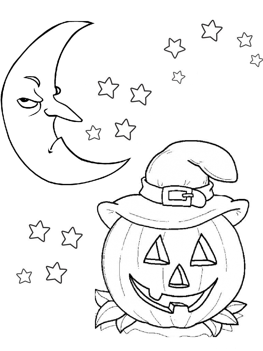 Halloween Coloring Pages Pdf Scary Moon And Pumpkin Carving