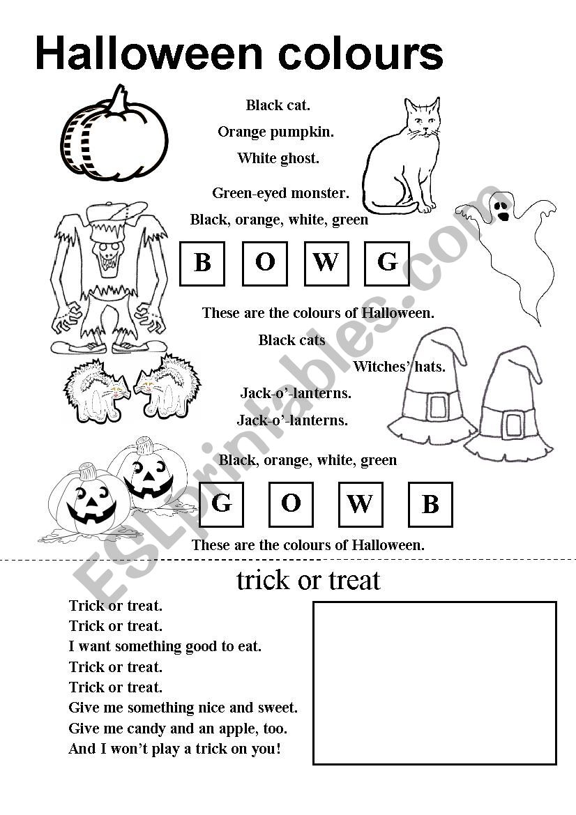 Halloween Coloring Poem - Esl Worksheets.moravkova