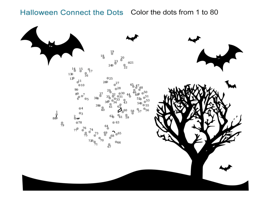 Halloween Connect The Dots Worksheet   All Esl