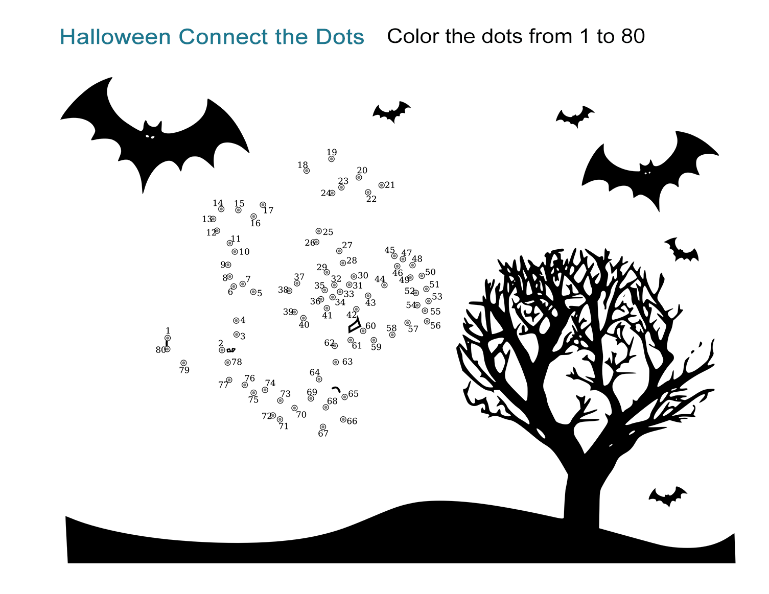 Halloween Connect The Dots Worksheet - All Esl
