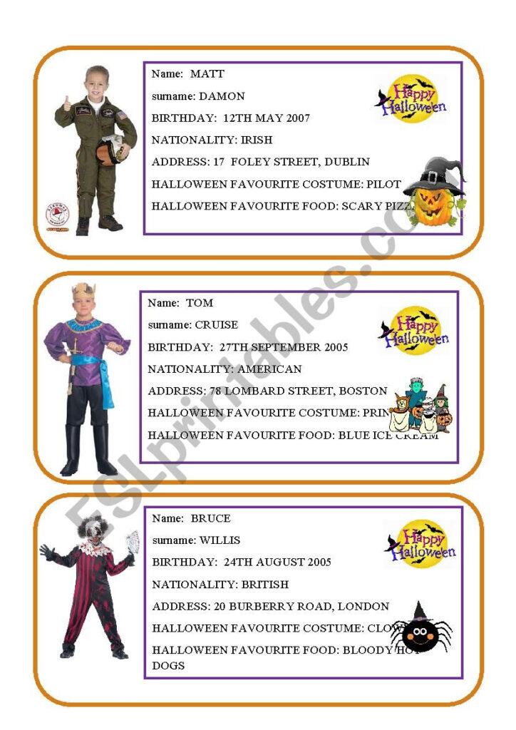 Halloween Conversation Cards   Esl Worksheetalespagna
