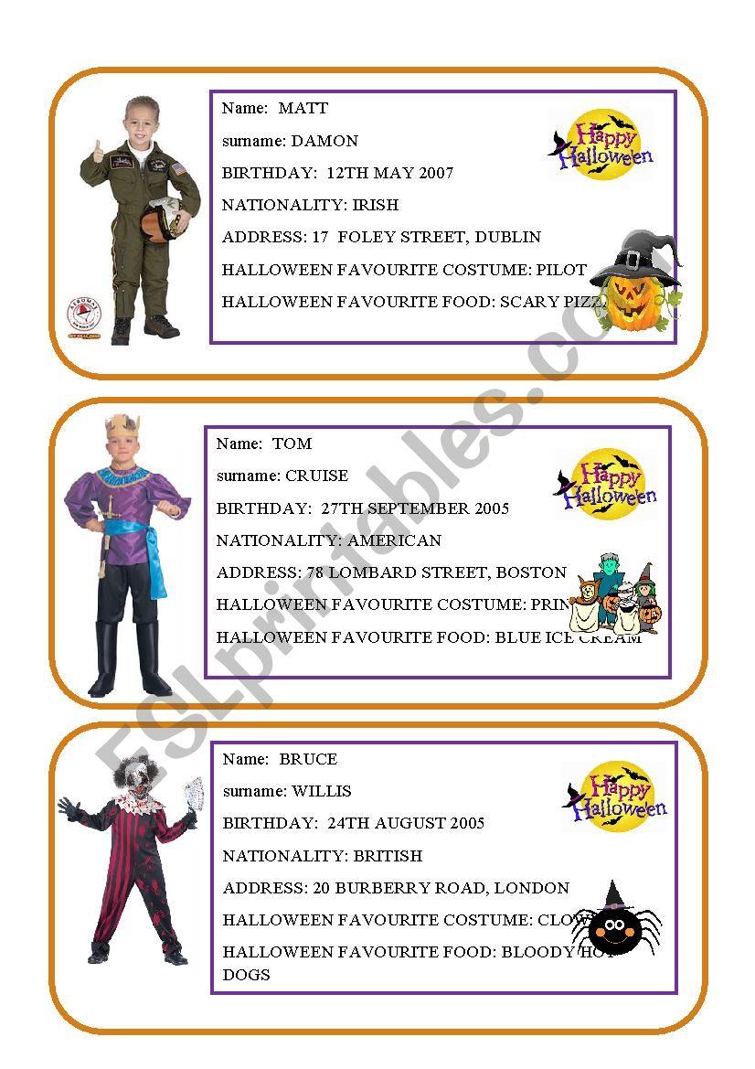 Halloween Conversation Cards - Esl Worksheetalespagna