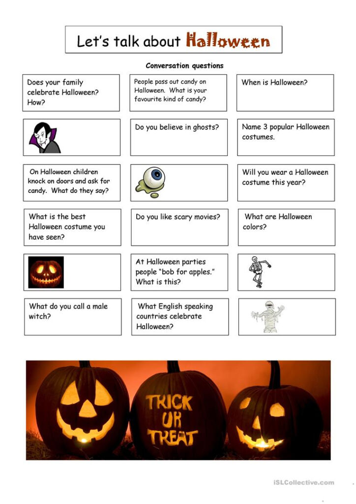 Halloween Conversation Questions   English Esl Worksheets