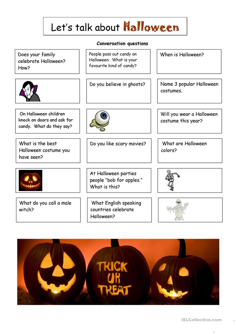 Halloween Conversation Questions - English Esl Worksheets