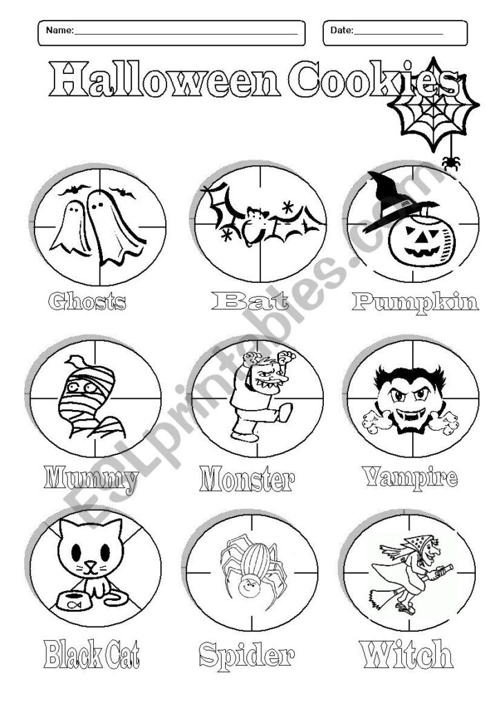 Halloween Cookies   Pictionary  Cut And Paste Activity   Esl