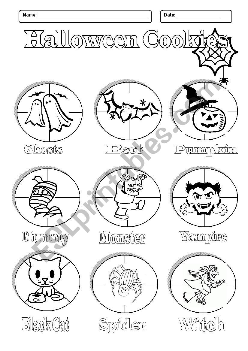 Halloween Cookies - Pictionary- Cut And Paste Activity - Esl