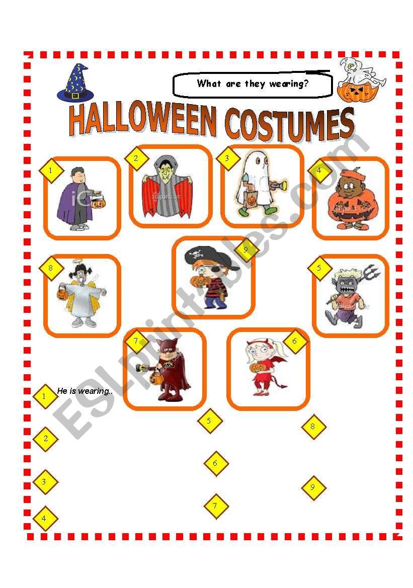 Halloween Costumes!!! Clothing Review - Esl Worksheethamxy