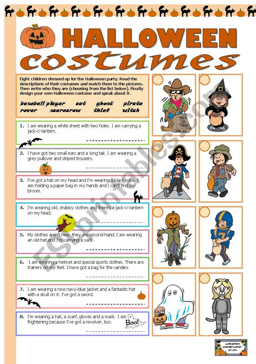 Halloween Costumes - Esl Worksheettecus