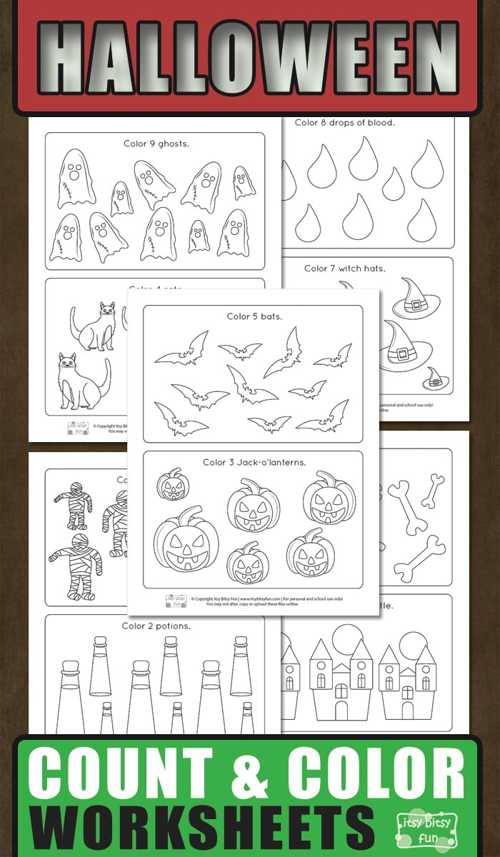 Halloween Count And Color Worksheets - Itsybitsyfun