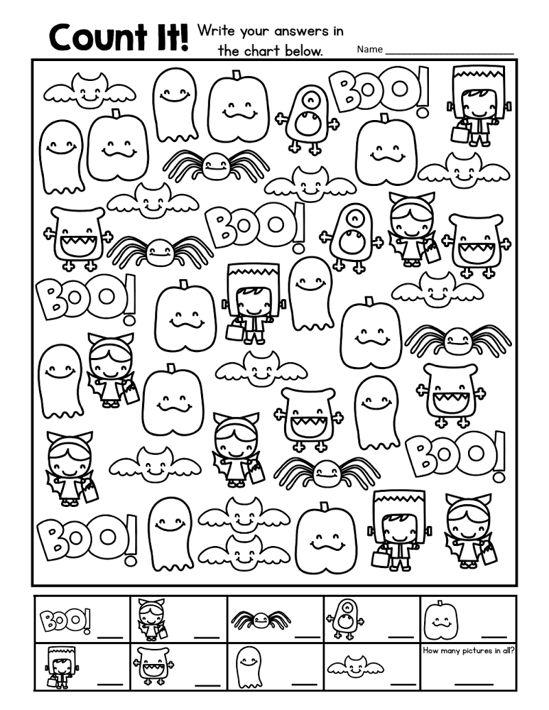 Halloween - Count And Record.pdf   Halloween Preschool