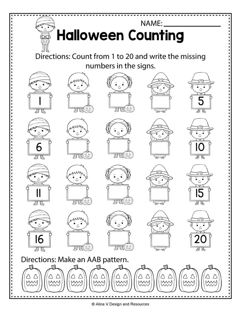 Halloween Counting Math Worksheets And Activities For